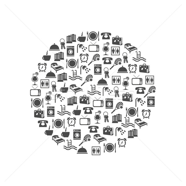 hotel and accommodation icons in circle Stock photo © glorcza