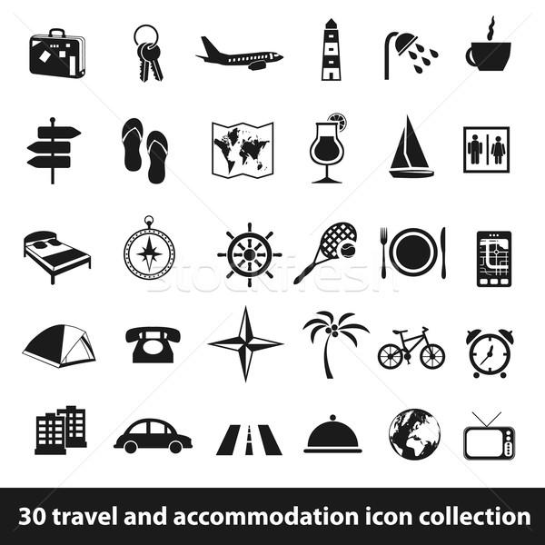 Reizen accommodatie iconen 30 icon collectie Stockfoto © glorcza