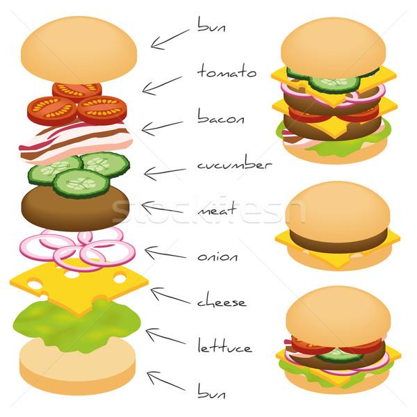 Hamburger hozzávalók zöld vacsora hús saláta Stock fotó © glorcza