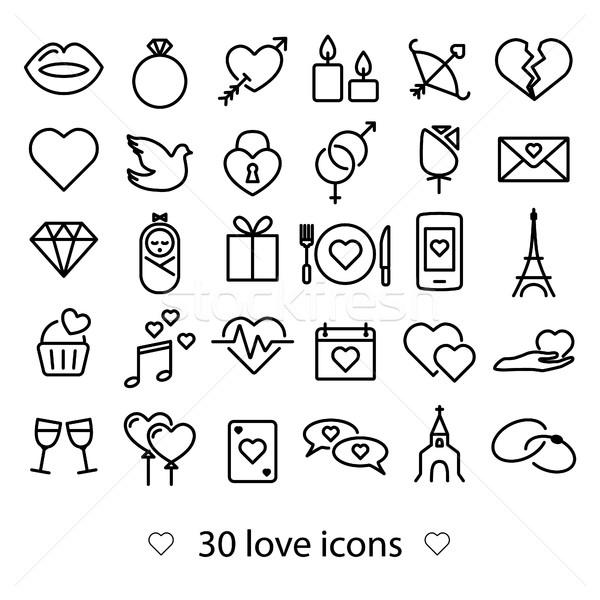love line icons Stock photo © glorcza