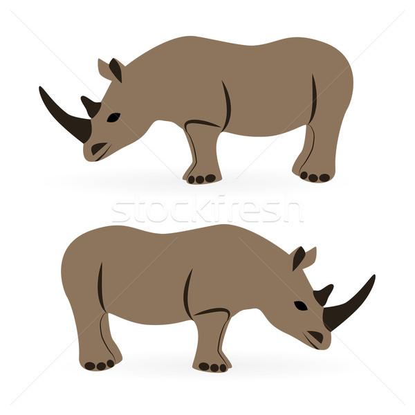 サイ 子供 ジャングル 動物 漫画 アフリカ ストックフォト © glorcza