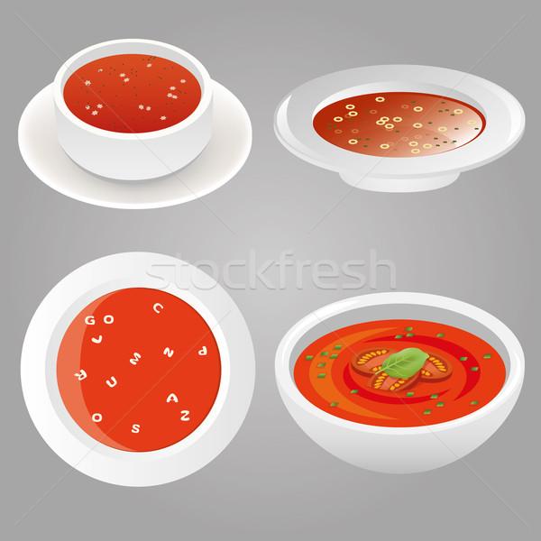 Zupa pomidorowa kolekcja żywności pomidorów gotować jeść Zdjęcia stock © glorcza