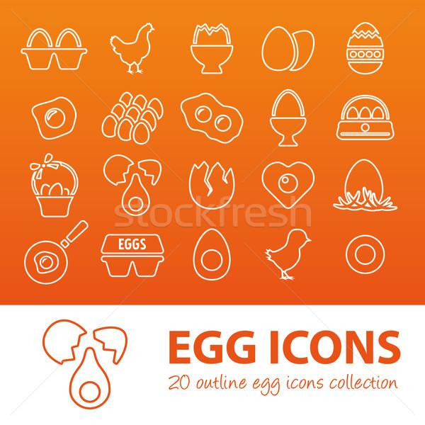 outline egg icons Stock photo © glorcza