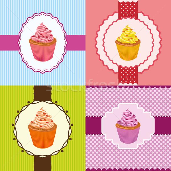 cupcake invitation cards Stock photo © glorcza