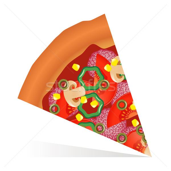 Rebanada pizza alimentos cena tomate Foto stock © glorcza