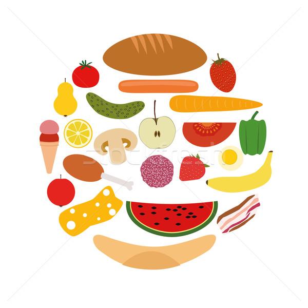 foods in circle Stock photo © glorcza