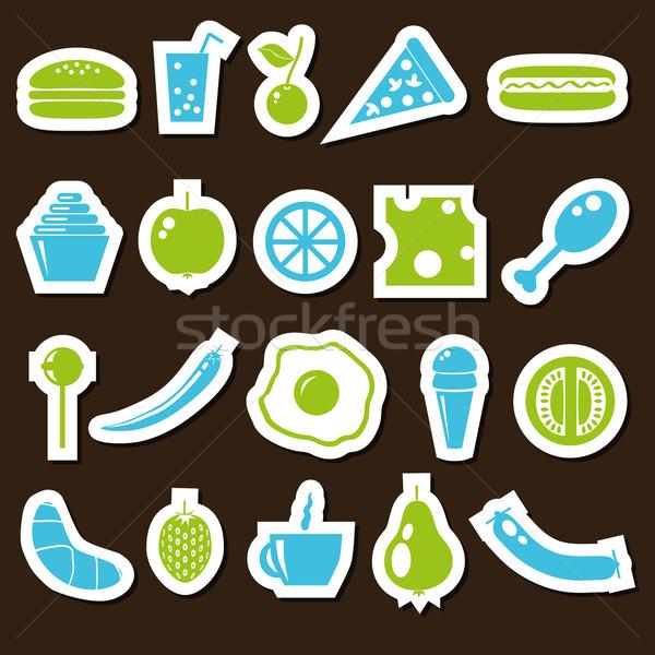 étel matricák zöld kék ételek kávé Stock fotó © glorcza