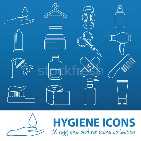 Igiene contorno icone acqua mano bagno Foto d'archivio © glorcza