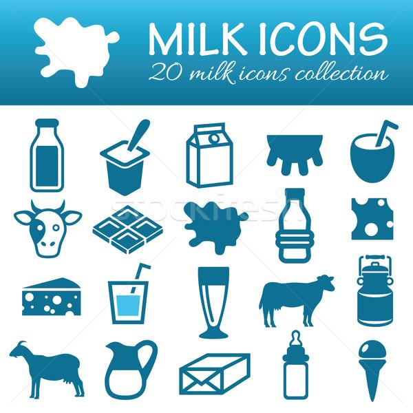 milk icons Stock photo © glorcza