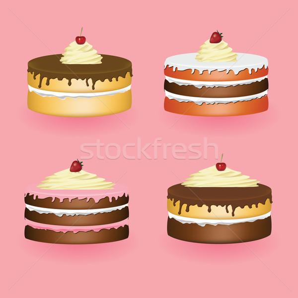 Bolos quatro rosa casa fruto bolo Foto stock © glorcza