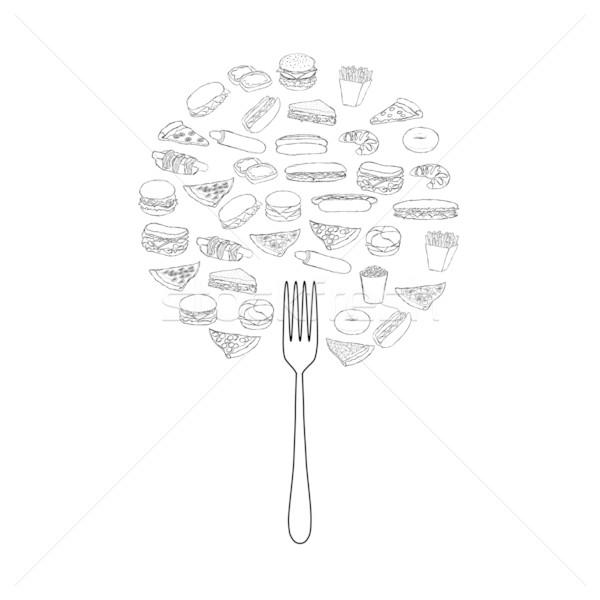 Stock fotó: Firka · ételek · fa · kéz · természet · pizza