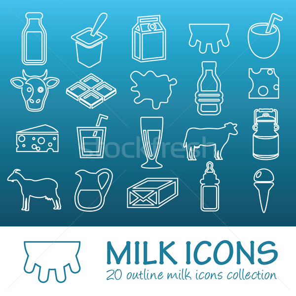 outline milk icons Stock photo © glorcza