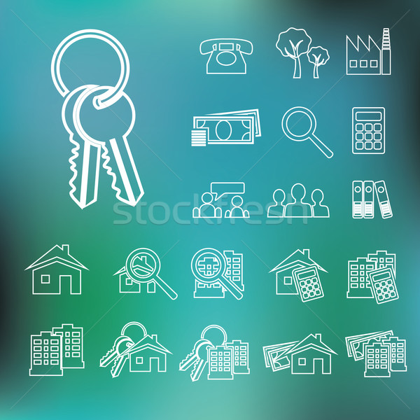 real estate outline icons Stock photo © glorcza