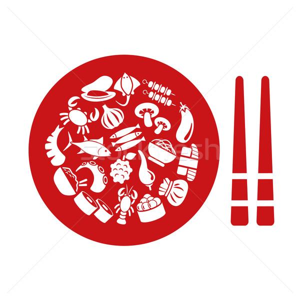 Icone piatto alimentare segno riso Foto d'archivio © glorcza