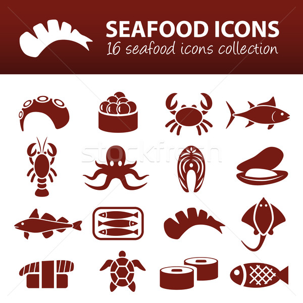 seafood icons Stock photo © glorcza