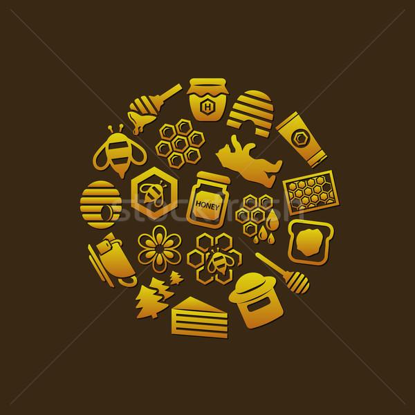 Honing iconen cirkel voedsel bos glas Stockfoto © glorcza