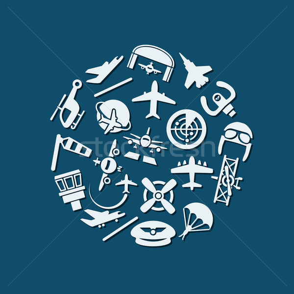 Aviazione icone cerchio design viaggio aereo Foto d'archivio © glorcza