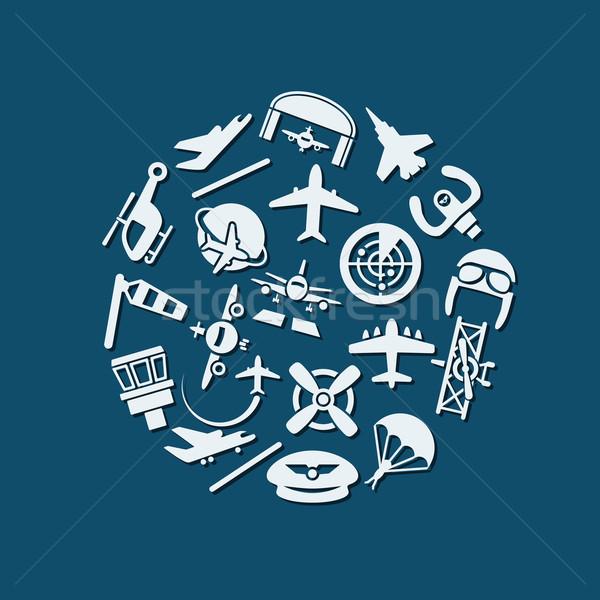 aviation icons in circle Stock photo © glorcza