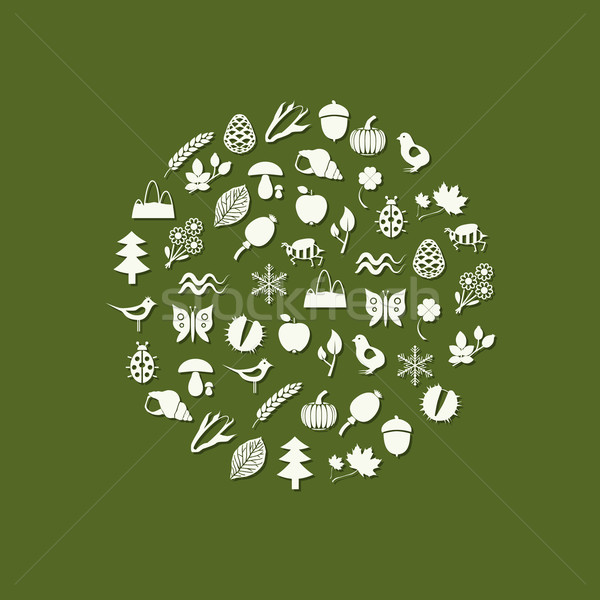 nature icons in circle Stock photo © glorcza