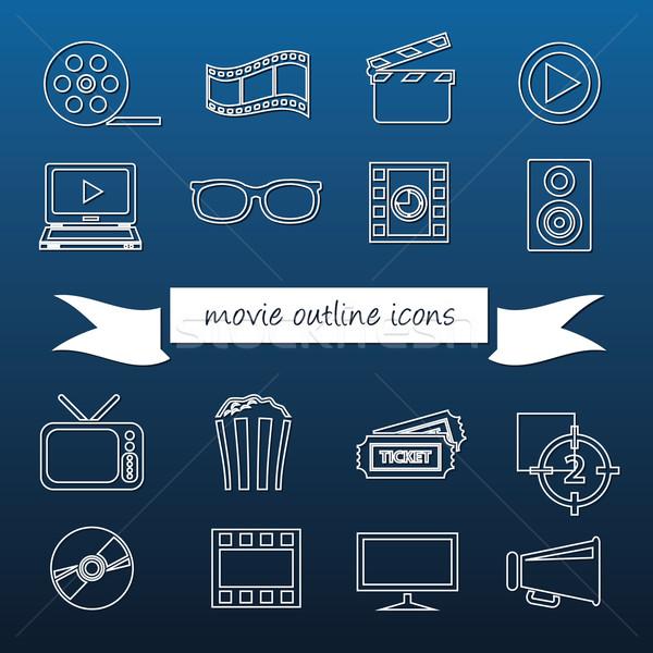 movie outline icons Stock photo © glorcza