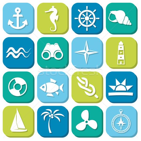 marine icons in squares Stock photo © glorcza