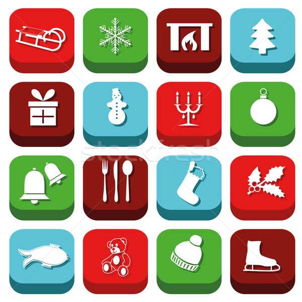 christmas icons Stock photo © glorcza