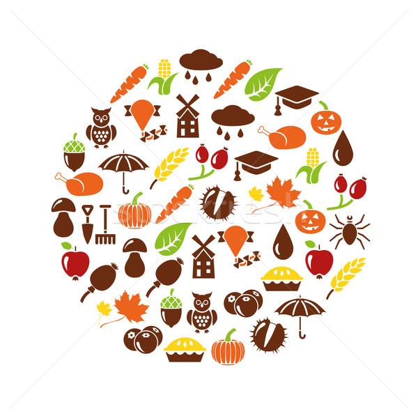 Stock photo: autumn icons in circle