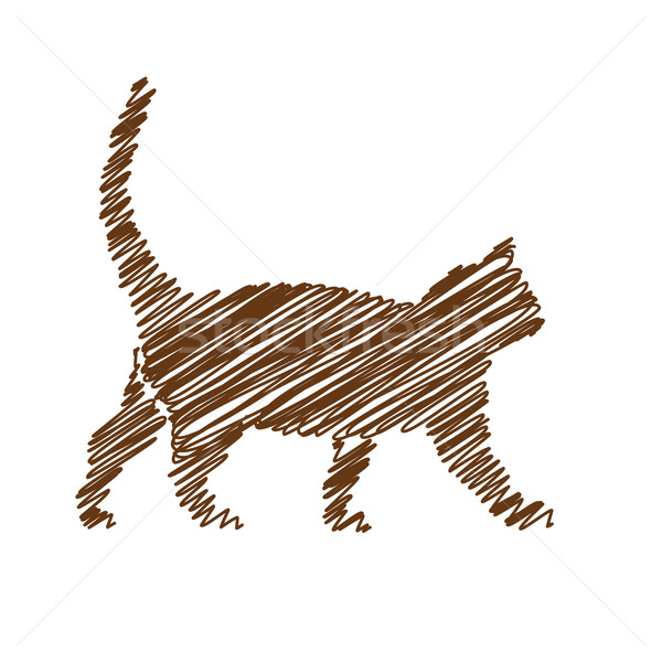 猫 手書き 画像 デザイン シルエット 動物 ストックフォト © glorcza