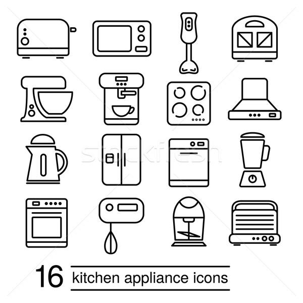 vector kitchen appliance icons Stock photo © glorcza