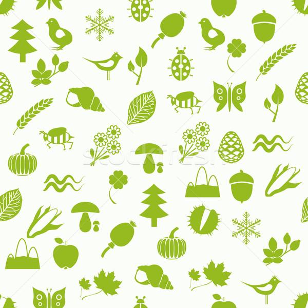 Természet végtelen minta fa levél hó hegy Stock fotó © glorcza
