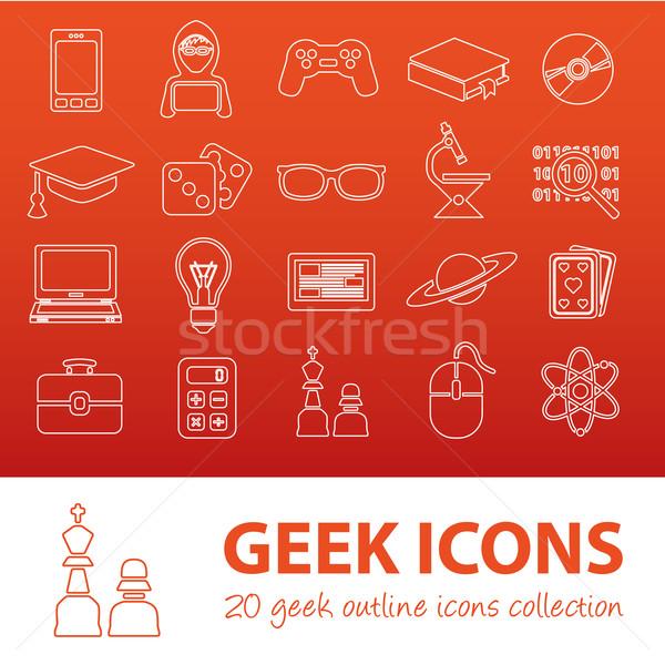 Geek ikona telefonu szkoły świetle Zdjęcia stock © glorcza