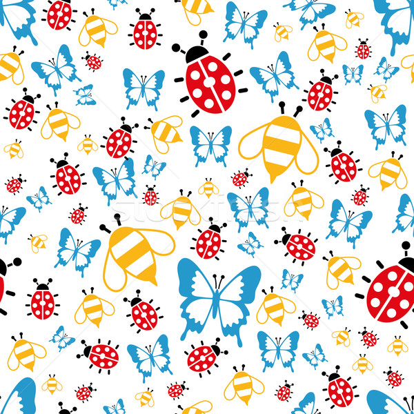 spring bugs seamless pattern Stock photo © glorcza