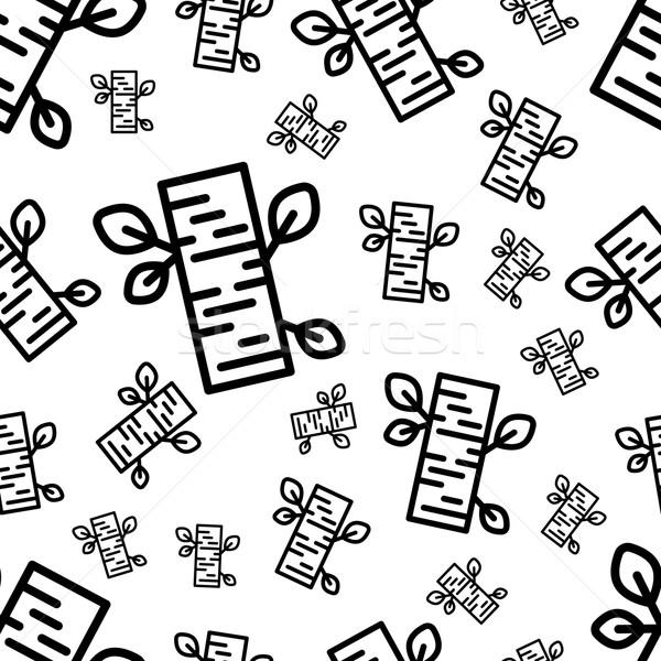 Nyírfa végtelen minta ikonok terv levél szövet Stock fotó © glorcza
