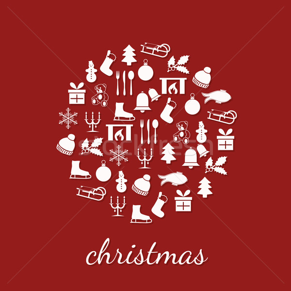 christmas icons in circle Stock photo © glorcza