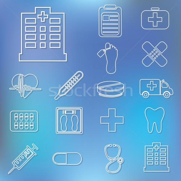 outline hospital icons Stock photo © glorcza