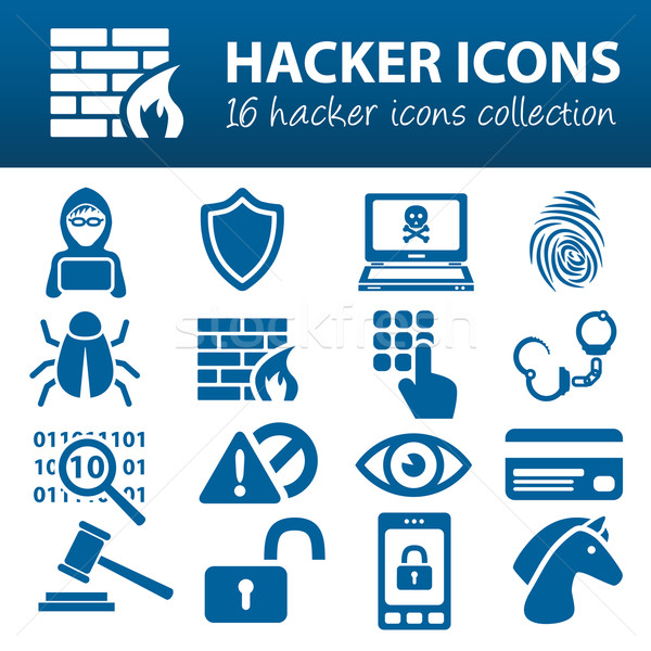 hacker icons Stock photo © glorcza
