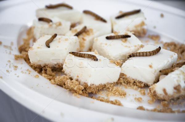 lemon cheesecake bites with roasted mealworms Stock photo © glorcza