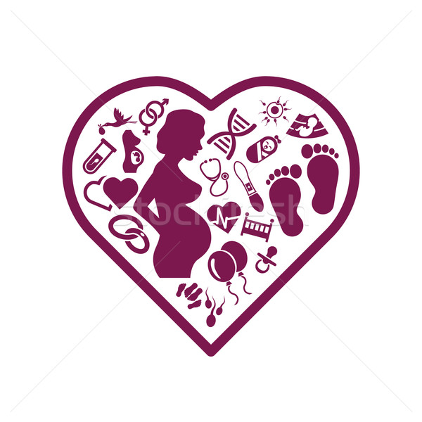 Zwangerschap iconen hart baby liefde ontwerp Stockfoto © glorcza