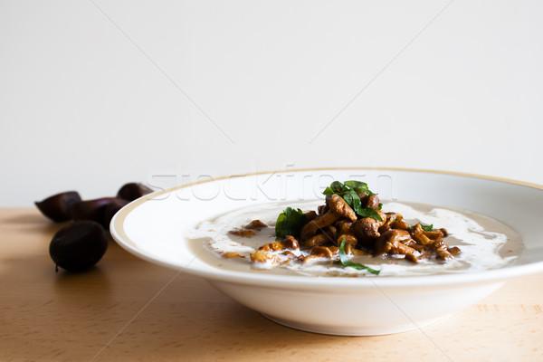 Kastanje soep voedsel diner plaat champignon Stockfoto © glorcza