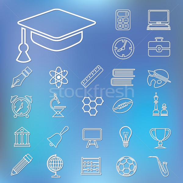 Oktatás skicc ikonok számítógép iskola toll Stock fotó © glorcza