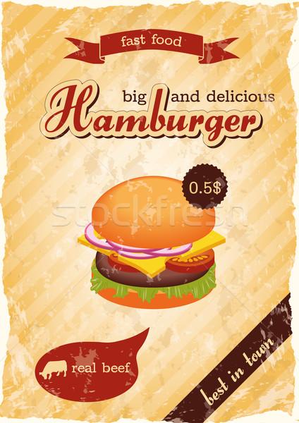 Hamburger retro poster alimentare design sfondo Foto d'archivio © glorcza