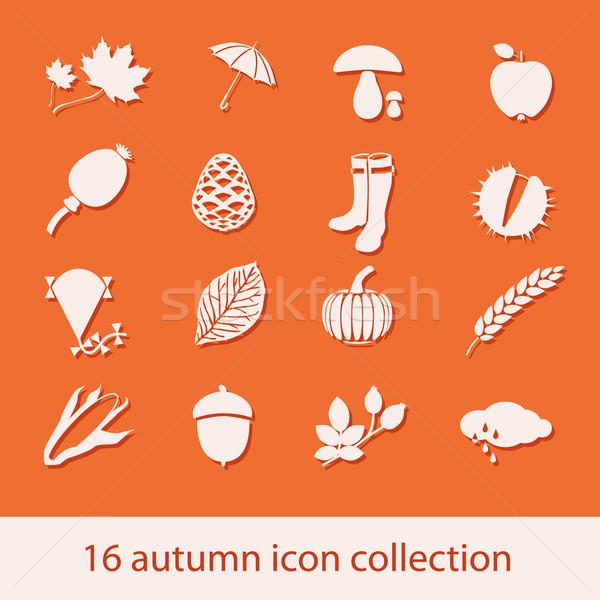 autumn icon collection Stock photo © glorcza