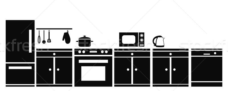 Konyhai felszerelés ház terv otthon szakács hűtőszekrény Stock fotó © glorcza