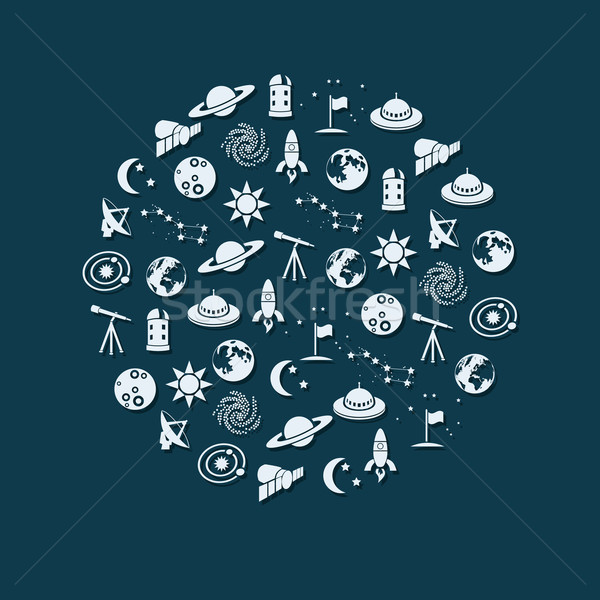 space icons in circle Stock photo © glorcza