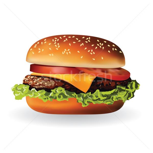 Hamburger hús saláta sajt paradicsom zöld Stock fotó © glorcza