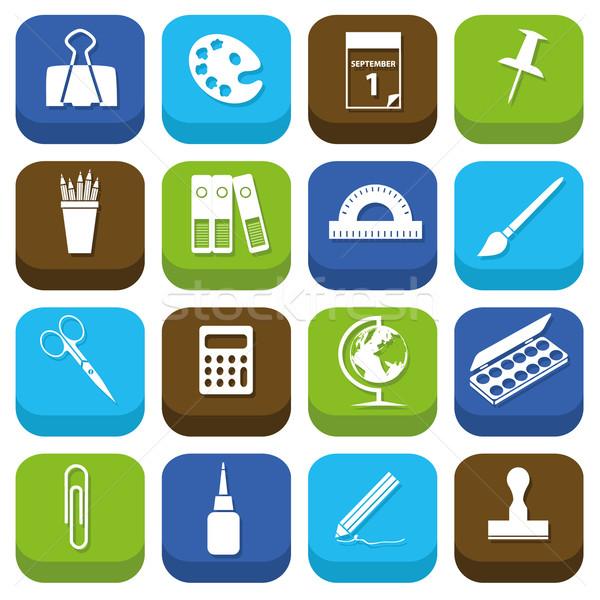Artigos de papelaria ícones globo projeto teia calculadora Foto stock © glorcza