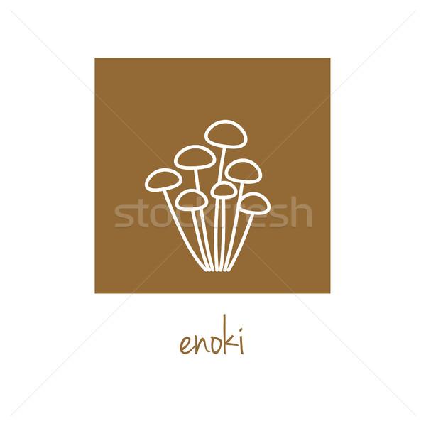 enoki icon on brown square Stock photo © glorcza