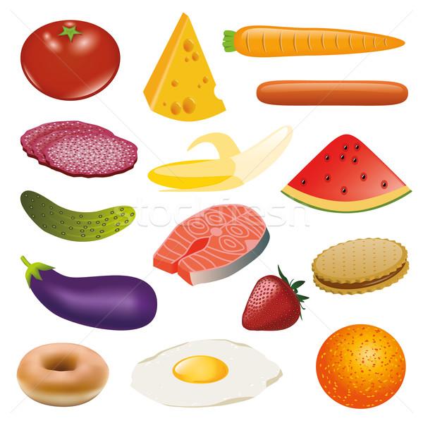 étel gyűjtemény gyümölcs narancs sajt eper Stock fotó © glorcza