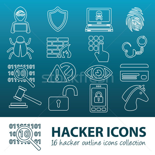 hacker outline icons Stock photo © glorcza