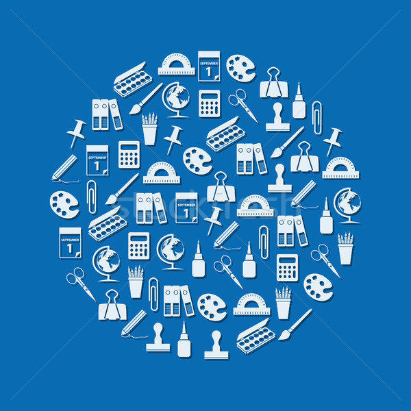 stationery icons in circle Stock photo © glorcza